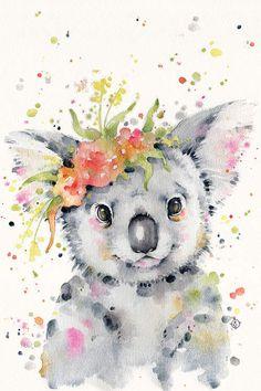 Little Koala Canvas Wall Art by Sillier Than Sally Tattoo Koala, Watercolor Animals, Watercolor Paintings, Watercolour, Koala Illustration, Framed Art Prints, Poster Prints, Dibujos Cute, Animal Posters