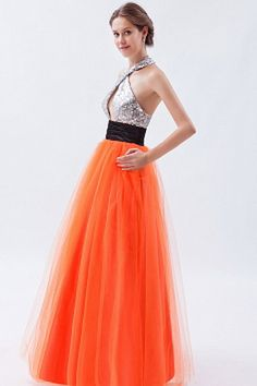 Tulle Halter Classic Party Gowns - Order Link: http://www.theweddingdresses.com/tulle-halter-classic-party-gowns-twdn1332.html - Embellishments: Sash , Sequin; Length: Floor Length; Fabric: Tulle; Waist: Natural - Price: 164.37USD