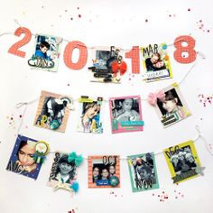 2018 Photo Garland featuring the Frame Punch Board by Enza Gudor for We R Memory Keepers Photo Garland, Frame Stand, Grid Layouts, We R Memory Keepers, Punch Board, Photo Displays, Mini Books, First Photo, Mini Albums