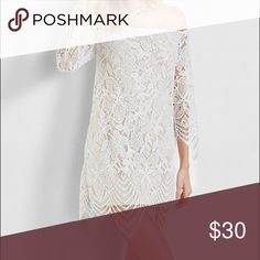 Off The Shoulder Lace Dress This shoulder-baring dress has some classic femininity, thanks to soft, scalloped white lace that drapes beautifully over a contrasting taupe lining. Express Dresses