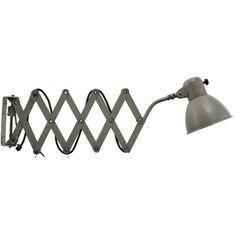 Mid-Century Grey Metal Scissor Vintage Industrial Scone from SIS bei Pamono kaufen Industrial Ceiling Lights, Vintage Industrial Lighting, Industrial Lamps, Metal Scissors, Light Bulb, Mid Century, Grey, Silver, Enamel
