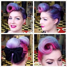 Last Saturday's hair and face, with bow accessory from eBay. #bighair #victoryroll #cinderellabun #purplehair #vintagehair #vintageupdo #diablorose #lekeuxvintagesalon #lekeuxcosmetics #modernpinup #pinuphair