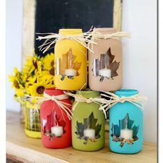 Mason Jar Crafts for Fall - Maple Leaf Mason Jar Craft