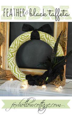 Zebra Feather and Black Taffeta DIY Wreath Craft foxhollowcotttage.com | #Fall #wreath