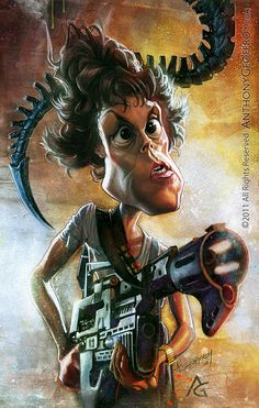 Ripley (Sigourney Weaver) by Anthony Geoffroy Cartoon Faces, Funny Faces, Cartoon Art, Cartoon Characters, Funny Caricatures, Celebrity Caricatures, Sigourney Weaver, Aliens Movie, Caricature Drawing