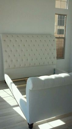 Custom Upholstered bed. Available in any size, fabric and color.  www.sofastablesandmore.com