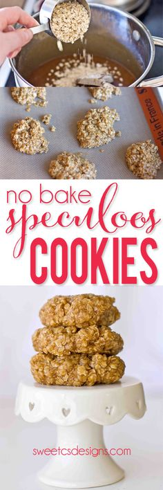 "Speculoos No-Bake Oatmeal Cookies - Speculoos is a delicious ""cookie butter"" that tastes like gingerbread! Great, easy last minute addition to my holiday treats! Yum!"