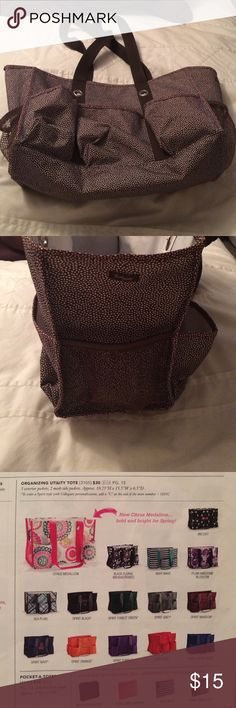 Thirty-one organizing utility tote brown lotsa dot Being offered is a gently used a few times thirty-one organizing utility tote in a brown lotsa dots print item #3105 normally $30. Smoke free home I do bundle and take reasonable offers thirty-one Bags Totes