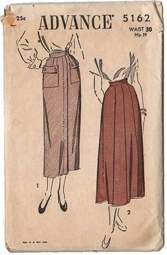 Vintage 1940s Advance Sewing Pattern 5162 Gored Skirt with Pockets Waist 30