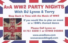 WW2 Party Nights with DJ Lynne & Host Terry. A great party night to celebrate the music of WW2
