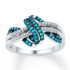 Blue Diamond Ring 1/4 ct tw Round-cut Sterling Silver Kay Jewelers