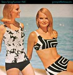 Black and White swimsuits / bathing suits ...one wildly mod, the other floral. Both are GRoovy! Sears Spring/Summer 1968 #sears #fashion #vintage #groovy