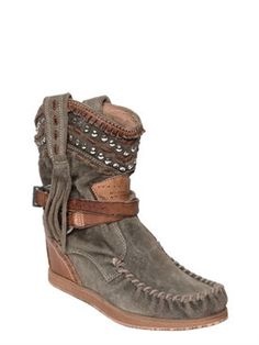 EL VAQUERO 70MM LENA FRINGED SUEDE WEDGED BOOTS 589TR