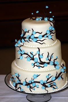 Blue and brown wedding cake design-I want an Italian wedding cake, but I love the blue and brown design.
