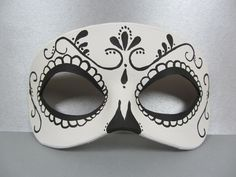 Day+of+the+Dead+Swirl+Black+and+White+Leather+Mask+by+maskedzone,+$35.00