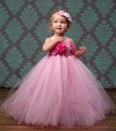 Flower Girl Tutu Dress in Pink Bubble Gum by TheLittlePeaBoutique, $114.00