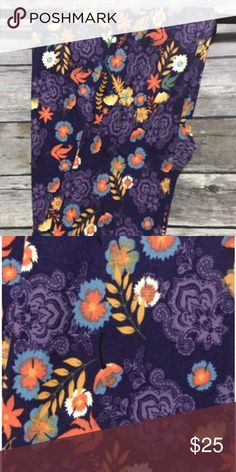 Autumn Purple/Floral Lularoe's New w/o tags. One Size Lularoe Leggings. Purple/orange floral pattern. These are the softest leggings I've ever had! So comfy. LuLaRoe Pants Leggings