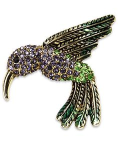 Jones New York Brooch, Gold Tone Crystal Hummingbird Pin Box - Fashion Jewelry - Jewelry & Watches - Macy's
