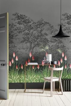 An elegant, all over wallpaper design featuring vibrant Kniphofia flowers by Little Greene.