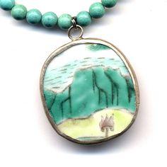 Magnesite Necklace Antique Pottery pendant OOAK by Annaart72, $34.00