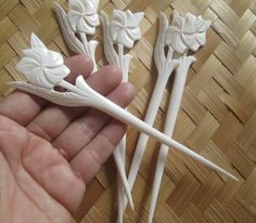Hand Carved Flower Bone Hair Sticks / Pins / Forks HSBN001