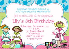 spa birthday party invitation printable by thebutterflypress 1200