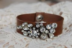 Leather bracelet with bling