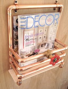 Copper Magazine Rack Industrial Design Modern Wall by MacAndLexie