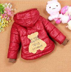 4pcs/lot winter hot selling baby clothing cartoon bear fleece wadded jackets for boys girls ZZ1086