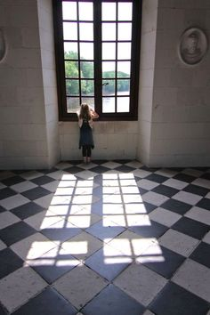 Chateau Chenenceau, Loire Valley, France--sweet little girl! Doors And Floors, Windows And Doors, Belle France, Loire Valley, Château Fort, Looking Out The Window, French Chateau, Through The Window, 1
