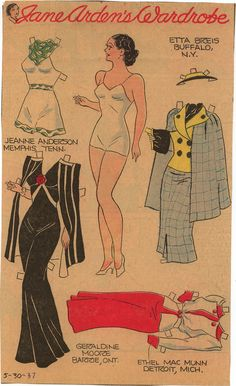 Another wonderful paperdoll from the sunday comic strip. She has a nice wardrobe in this set, a sunsuit, business suit, dress and evening gown.