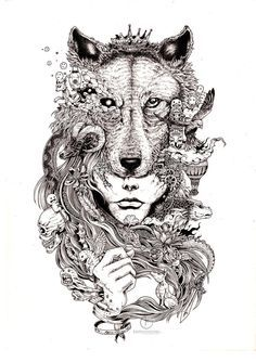 wolf head illustration - Google Search