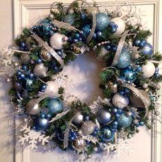 Blue Christmas #christmas #wreath #frozen #crafts #blue