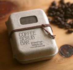 Simple and beautiful packaging from korean specialty coffee shop www coffeebori com Handmade Soap Packaging, Handmade Soaps, Packaging Ideas, Coffee Soap, Coffee Scrub, Soap Packing, Coffee Shop Design, Homemade Soap Recipes, Vegan Soap