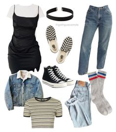 """If I was a teen in the 90s"" by sunsetsandflowers on Polyvore featuring RE/DONE, Express, Vans, Levi's, J.Crew, Topshop and Converse"