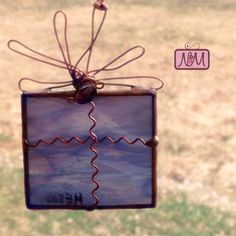 Stained Glass Ornament, Purple Stained Glass Suncatcher, Ornament, Tree Ornament, Sun Catcher, Wire Bow & Detail, Whimsical And Fun