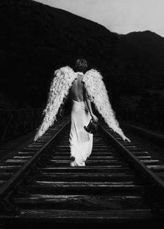 Angel on the Train Tracks Dark Angels, Fallen Angels, Angels Among Us, Angels And Demons, I Believe In Angels, Ange Demon, Angel And Devil, Sad Angel, 3d Fantasy