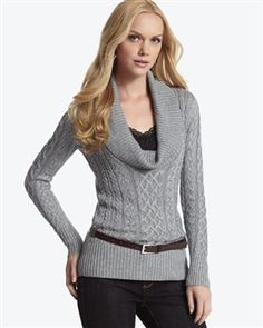 Cowl Neck Cable Sweater $84.00