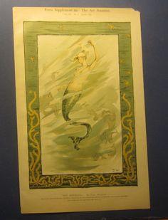 Pinterest Board: Vintage Mermaid Illustrations Old 1885 - ART NOUVEAU PRINT - THE MERMAID - Dora Wheeler - Art Amateur