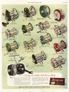 old fishing ads | Vintage Advertising Magazine AD Bronson Fishing Reels 1951