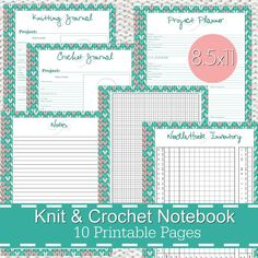 Knitting Crochet Planner Notebook Journal Organizer, PDF Printables. Organize your stash, projects, yarn and more!