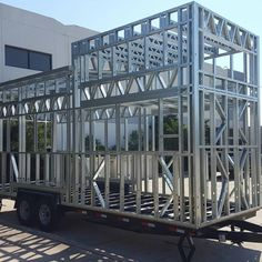 This is what a Volstrukt tiny house frame looks like on the Trailer Made THOW foundation. A thing of beauty in the eyes of a steel lover! Tiny House Trailer, Tiny House Cabin, Tiny House Plans, Tiny House On Wheels, Tiny House Design, Steel Frame House, Steel House, Steel Framing, Tiny Mobile House
