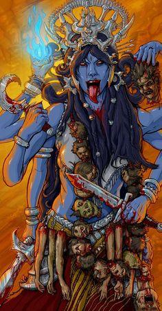 Kali Shiva, Kali Mata, Shiva Art, Hindu Art, Kali Tattoo, Kali Goddess, Goddess Art, Goddess Tattoo, Indian Gods