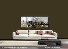 Grand Résumé blanc peinture acrylique moderne par OsnatFineArt