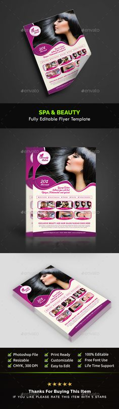 Clean and modern flyers for your spa, beauty, or wellness business - hair salon flyer template
