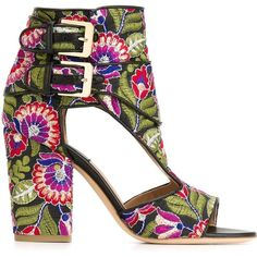 ccb68ea0c3a8d Laurence Dacade Floral Print Block Heel Sandals ( 840) ❤ liked on Polyvore  featuring shoes