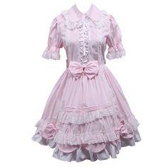 fcd57fd94b6f Partiss Women's Puff Bow Ruffle Sweet Vintage Victorian Lolita Dress at Amazon  Women's Clothing store: