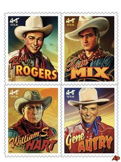 Cowboys of the Silver Screen block of four US stamps: Roy Rogers, Tom Mix, William S. Hart and Gene Autry Western Film, Western Movies, Western Art, Western Style, Country Style, Into The West, Postage Stamp Art, Going Postal, The Lone Ranger