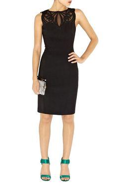 Karen Millen Dress (Pre-owned Dramatic Applique Black Lace Mesh Neckline Designer Dress)