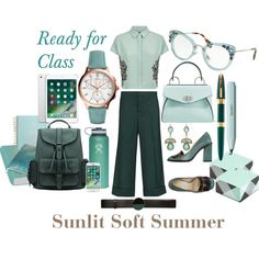 Ready for Class - Sunlit Soft Summer by prettyyourworld on Polyvore featuring Jaeger, Marni, L'Autre Chose, Proenza Schouler, FOSSIL, Accessorize, Miu Miu, ban.do, Kaweco and Yves Saint Laurent